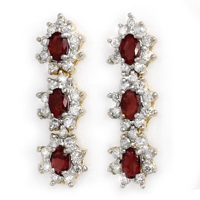 Genuine 5.63 ctw Ruby & Diamond Earrings Yellow Gold
