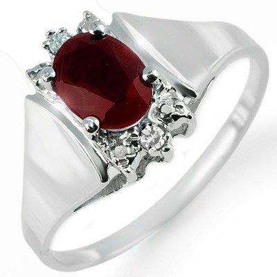 Genuine 1.10 ctw Ruby & Diamond Ring 14K White Gold
