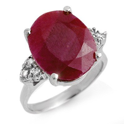 Genuine 8.83 ctw Ruby & Diamond Ring 10K White Gold