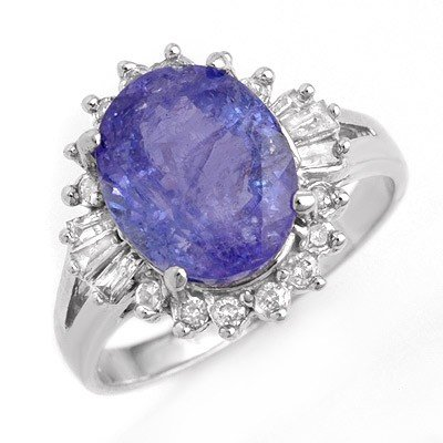 Genuine 4.06ct Tanzanite & Diamond Ring 14K White Gold