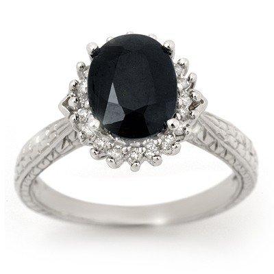 Genuine 3.15 ctw Sapphire & Diamond Ring 10K White Gold