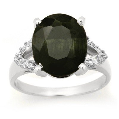 Genuine 6.58 ctw Sapphire & Diamond Ring 10K White Gold