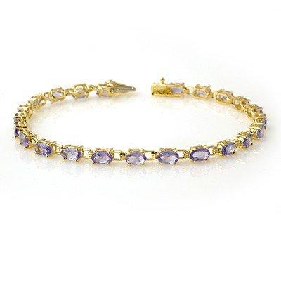 Genuine 5.0 ctw Tanzanite Bracelet 10K Yellow Gold