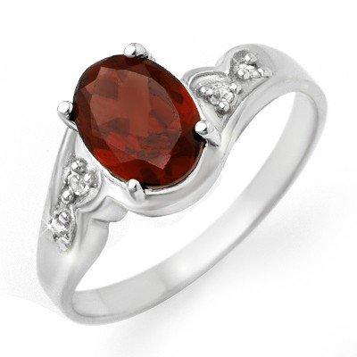 Genuine 1.26 ctw Garnet & Diamond Ring 10K White Gold