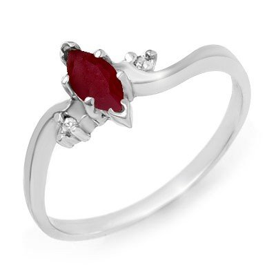 Genuine 0.42 ctw Ruby & Diamond Ring 10K White Gold