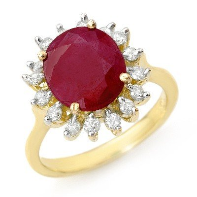 Genuine 3.68 ctw Ruby & Diamond Ring 10K Yellow Gold