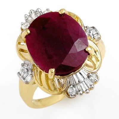 Genuine 6.70 ctw Ruby & Diamond Ring 10K Yellow Gold