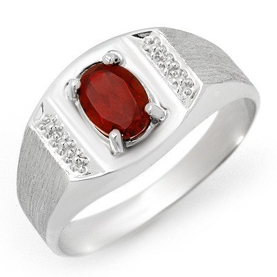 Genuine 2.0 ctw Garnet Men's Ring 10K White Gold