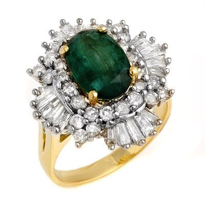 Genuine 3.9 ctw Emerald & Diamond Ring 14K Yellow Gold