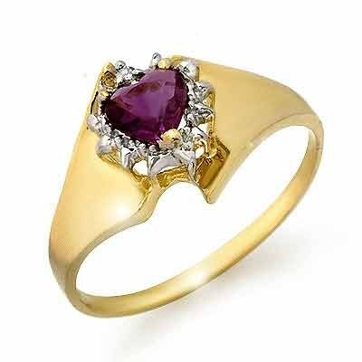 Genuine 0.40ctw Amethyst & Diamond Ring 10K Yellow Gold