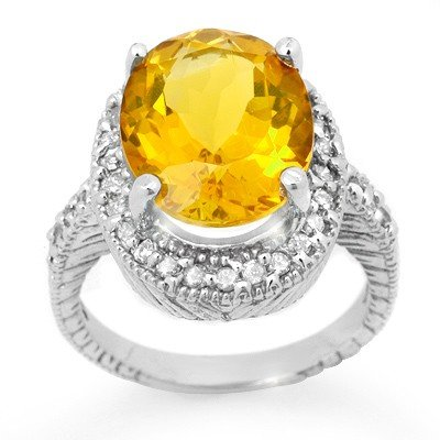 Genuine 6.0 ctw Citrine & Diamond Ring 14K White Gold