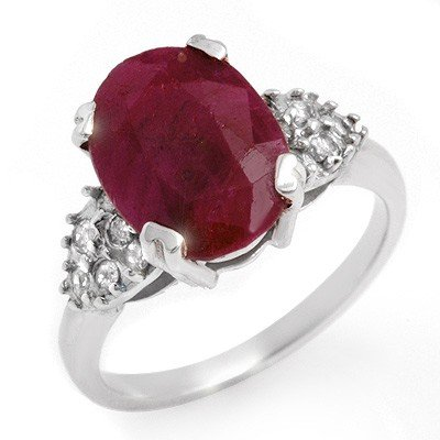Genuine 4.74 ctw Ruby & Diamond Ring 10K White Gold