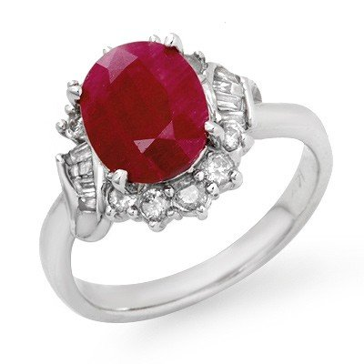 Genuine 3.31 ctw Ruby & Diamond Ring 14K White Gold