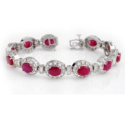 Genuine 16.0 ctw Ruby & Diamond Bracelet 14K White Gold