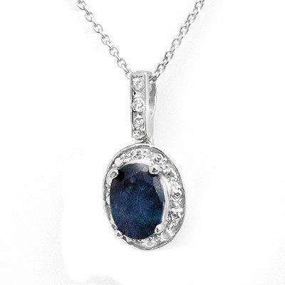 Genuine 1.02 ctw Sapphire & Diamond Pendant White Gold