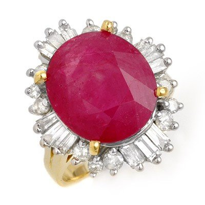 Genuine 9.68 ctw Ruby & Diamond Ring 14K Yellow Gold