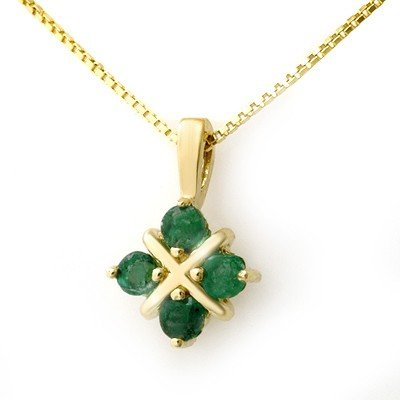 Genuine 0.38 ctw Emerald Pendant 10K Yellow Gold