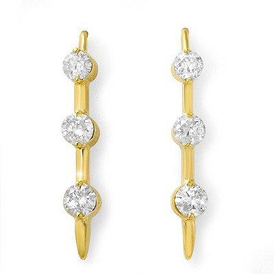 Natural 1.0 ctw Diamond Earrings 14K Yellow Gold