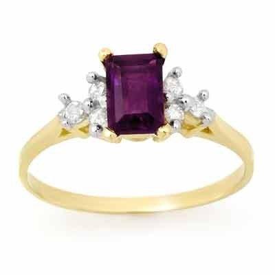 Genuine 1.14ctw Amethyst & Diamond Ring 10K Yellow Gold