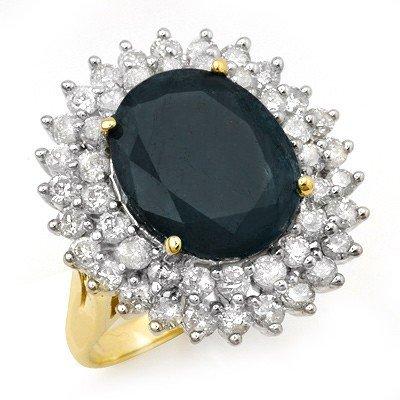 Genuine 15.55 ctw Sapphire & Diamond Ring Yellow Gold