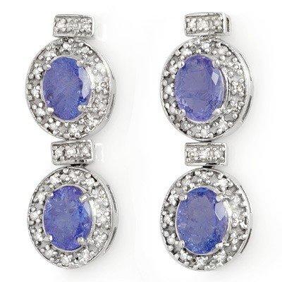 Genuine 5.75 ctw Tanzanite & Diamond Earrings 14K Gold