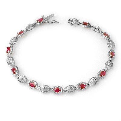 Genuine 4.17 ctw Ruby & Diamond Bracelet 10K White Gold