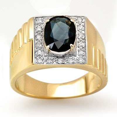 Genuine 2.65 ctw Sapphire & Diamond Men's Ring 10K Gold