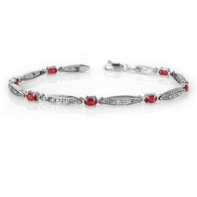 Genuine 2.75 ctw Ruby & Diamond Bracelet 10K White Gold