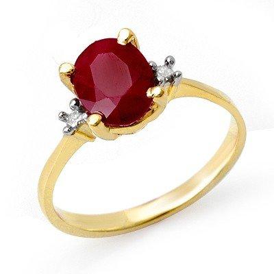 Genuine 3.0 ctw Ruby & Diamond Ring 14K Yellow Gold