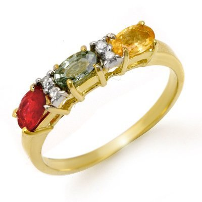 Genuine 1.10 ctw Multi-Sapphire & Diamond Ring 10K Gold