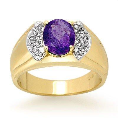 Genuine 2.65ctw Tanzanite & Diamond Men's Ring 10K Gold