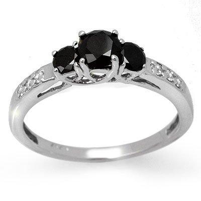 Natural 0.80 ctw White & Black Diamond Ring 14K Gold