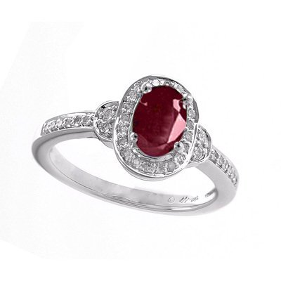 GENUINE 1.02 ctw DIAMOND and RUBY RING 14K WHITE GOLD