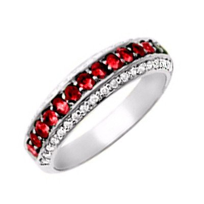 GENUINE 0.6 ctw DIAMOND and RUBY RING 14K WHITE GOLD