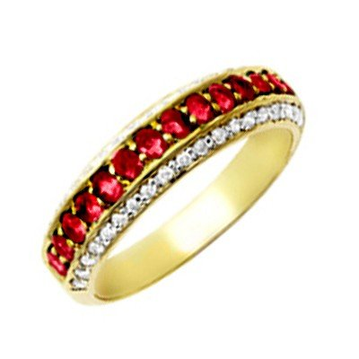GENUINE 0.6 ctw DIAMOND and RUBY RING 14K YELLOW GOLD