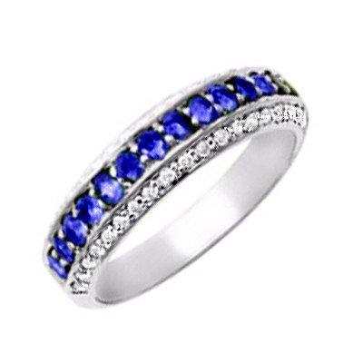 GENUINE 0.6 ctw DIAMOND and BLUE SAPPHIRE RING 14K WHIT