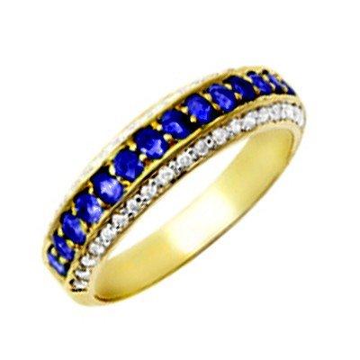 GENUINE 0.6 ctw DIAMOND and BLUE SAPPHIRE RING 14K YELL