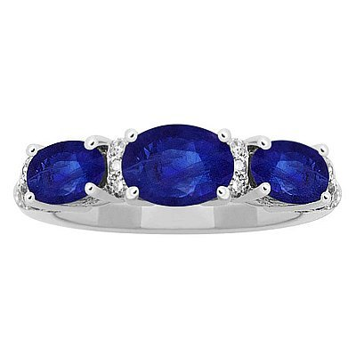 GENUINE 1.97 ctw DIAMOND and BLUE SAPPHIRE RING 14K WHI