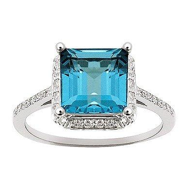 GENUINE 2.89 ctw DIAMOND and BLUE TOPAZ RING 14K WHITE