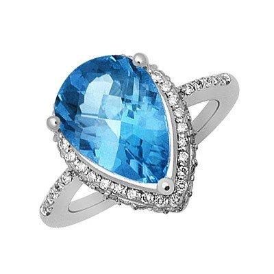 GENUINE 4.17 ctw DIAMOND and BLUE TOPAZ RING 14K WHITE