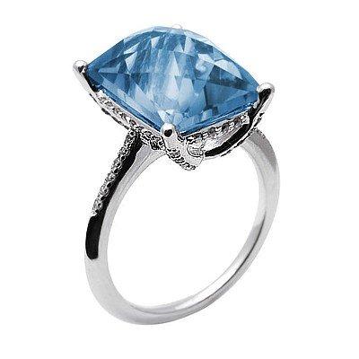 GENUINE 7.29 ctw DIAMOND and BLUE TOPAZ RING 14K WHITE