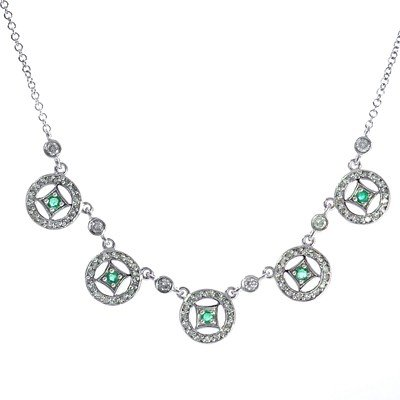 GENUINE 1 ctw DIAMOND and BLUE SAPPHIRE NECKLACE 14K WH