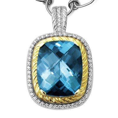 GENUINE 11.27 ctw DIAMOND and BLUE TOPAZ PENDANT 14K 2T