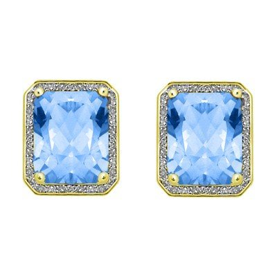 GENUINE 8.55 ctw DIAMOND and BLUE TOPAZ EARRINGS 14K 2T