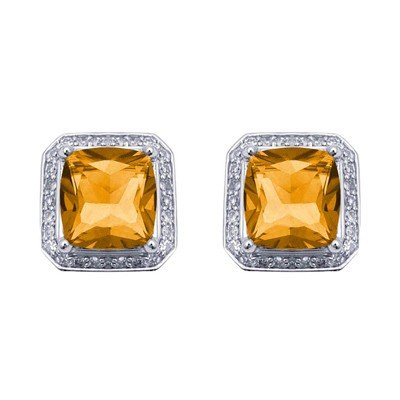 GENUINE 4.85 ctw DIAMOND and CITRINE EARRINGS 14K WHITE