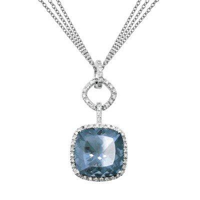 GENUINE 9.28 ctw DIAMOND and BLUE TOPAZ PENDANT 14K WHI