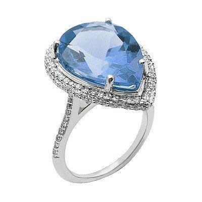 GENUINE 11.57 ctw DIAMOND and BLUE TOPAZ RING 14K WHITE