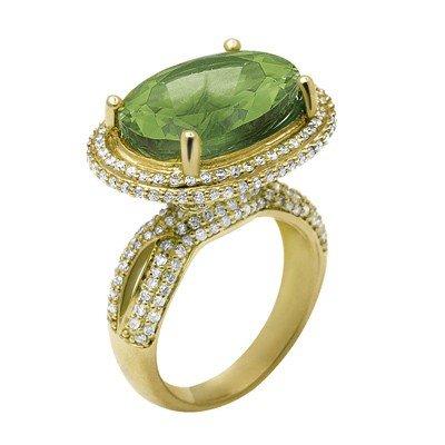 GENUINE 10.4 ctw DIAMOND and GREEN AMETHYST RING 14K YE