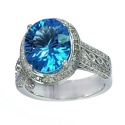 GENUINE 9.75 ctw DIAMOND and BLUE TOPAZ RING 14K WHITE