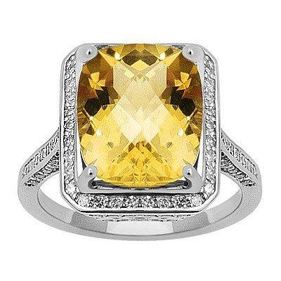 GENUINE 6.7 ctw DIAMOND and CITRINE RING 14K WHITE GOLD